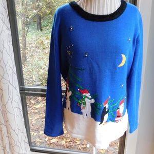 Bobbie bell Santa Christmas sweater, bears, large